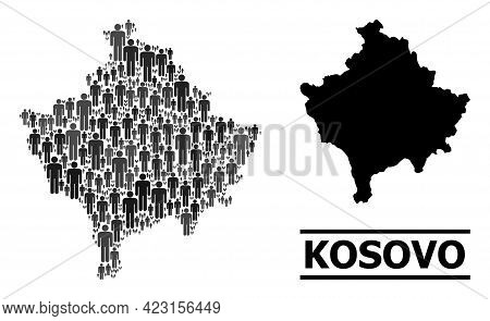 Map Of Kosovo For Demographics Agitation. Vector Demographics Mosaic. Abstraction Map Of Kosovo Desi
