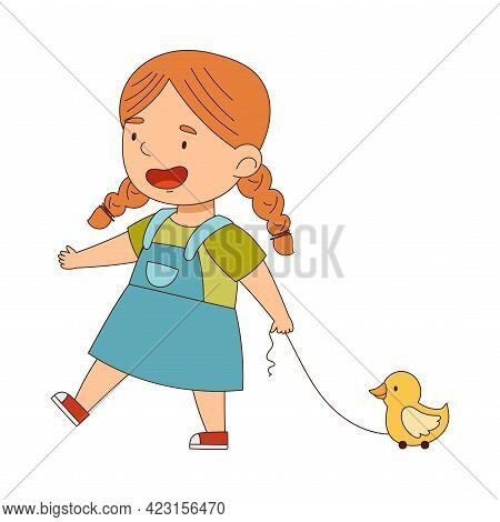 Cute Redhead Girl Pulling Toy Duck By String Having Fun On Her Own Enjoying Childhood Vector Illustr
