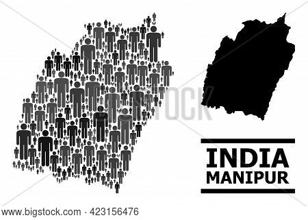 Map Of Manipur State For Demographics Projects. Vector Demographics Abstraction. Concept Map Of Mani