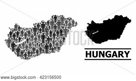 Map Of Hungary For Demographics Proclamations. Vector Demographics Mosaic. Mosaic Map Of Hungary Com