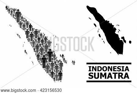 Map Of Sumatra Island For Demographics Doctrines. Vector Demographics Mosaic. Concept Map Of Sumatra