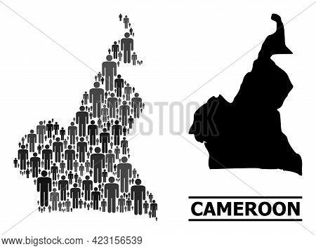 Map Of Cameroon For Demographics Agitprop. Vector Population Mosaic. Mosaic Map Of Cameroon Construc