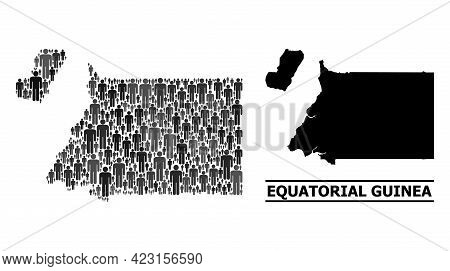 Map Of Equatorial Guinea For National Applications. Vector Demographics Collage. Collage Map Of Equa