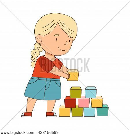 Little Blond Girl Playing Toy Blocks Having Fun On Her Own Enjoying Childhood Vector Illustration