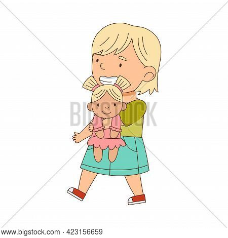 Little Blond Girl Playing With Doll Having Fun On Her Own Enjoying Childhood Vector Illustration