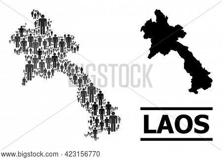 Map Of Laos For Demographics Applications. Vector Demographics Mosaic. Concept Map Of Laos Created O