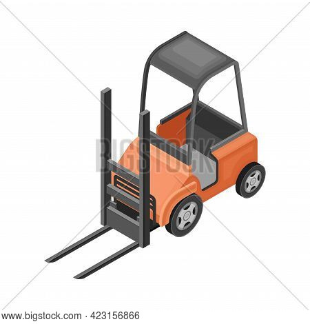 Forklift Or Lift Truck As Powered Industrial Truck And Warehouse Equipment For Goods Moving Isometri