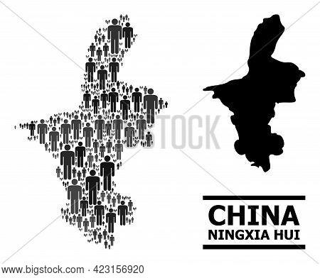 Map Of Ningxia Hui Region For Social Propaganda. Vector Nation Mosaic. Mosaic Map Of Ningxia Hui Reg