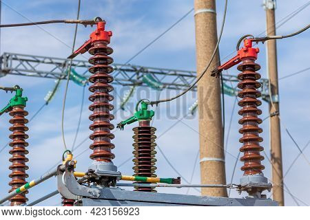 High Voltage Power Transformer,generator Electric In Substation.general View To High-voltage Substat