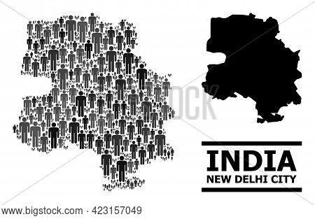 Map Of New Delhi City For Political Propaganda. Vector Population Abstraction. Concept Map Of New De