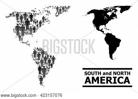 Map Of South And North America For Demographics Propaganda. Vector Population Collage. Collage Map O
