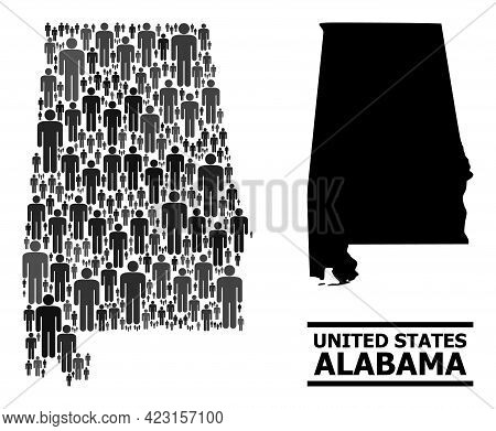 Map Of Alabama State For Social Purposes. Vector Population Abstraction. Composition Map Of Alabama