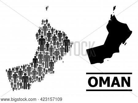 Map Of Oman For Politics Agitprop. Vector Demographics Mosaic. Concept Map Of Oman Created Of Guy El