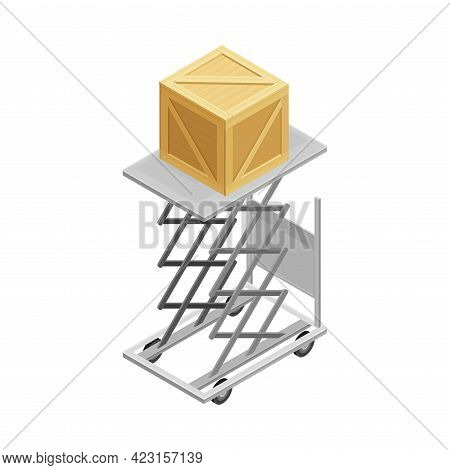 Lifting Device With Square Wooden Box From Warehouse Area As Goods Storage And Logistics Isometric V