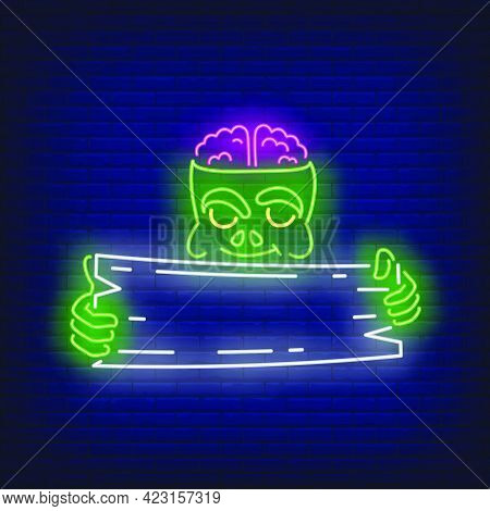Zombie Holding Wooden Signboard Neon Sign. Halloween, Monster, Horror Design. Night Bright Neon Sign