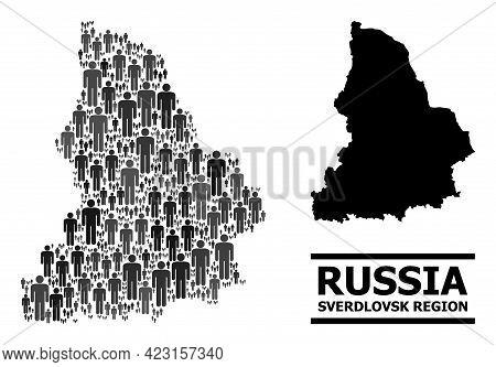 Map Of Sverdlovsk Region For National Agitation. Vector Demographics Collage. Collage Map Of Sverdlo