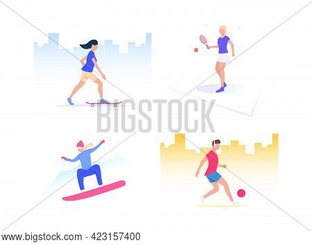 Set Of People Playing Active Sports. Group Of Men And Women Practising Sport. Outdoor Activities Con