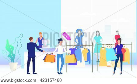 Shoppers Choosing And Buying Clothes In Shop. Fashion Outlet, Boutique Concept. Vector Illustration