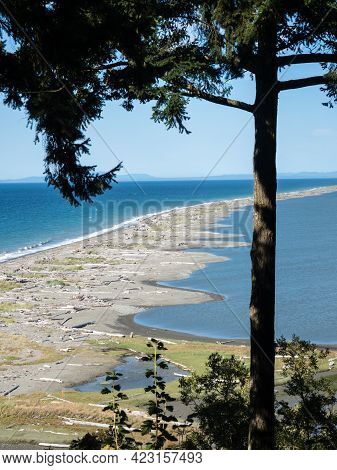 Scenic View Of Dungeness Spit, The Longest Sand Spit In The Us - Olympic Peninsula, Washington State