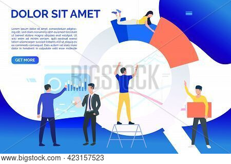 Team Of Analysts Working On Charts. Business, Marketing, Teamwork. Analysis Concept. Vector Illustra