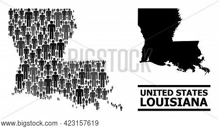 Map Of Louisiana State For Demographics Doctrines. Vector Demographics Mosaic. Concept Map Of Louisi
