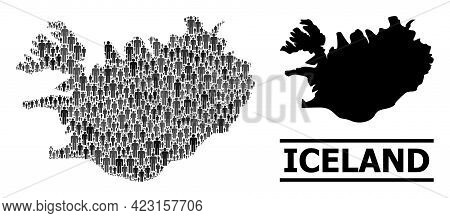 Map Of Iceland For National Applications. Vector Nation Mosaic. Concept Map Of Iceland Done Of Popul