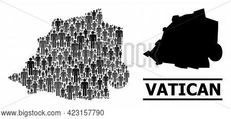 Map Of Vatican For National Doctrines. Vector Population Mosaic. Mosaic Map Of Vatican Organized Of