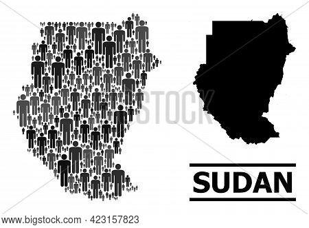 Map Of Sudan For Demographics Propaganda. Vector Demographics Collage. Composition Map Of Sudan Cons