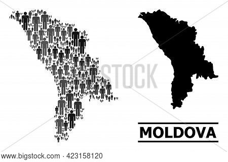 Map Of Moldova For Politics Projects. Vector Population Abstraction. Collage Map Of Moldova Made Of