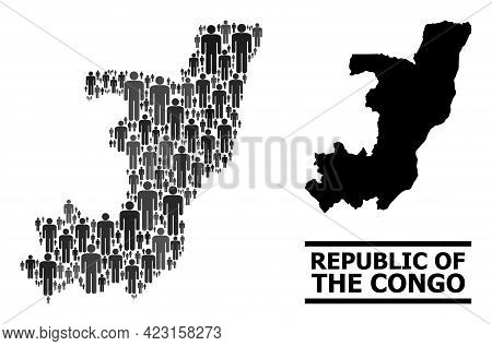Map Of Republic Of The Congo For Demographics Propaganda. Vector Nation Abstraction. Abstraction Map