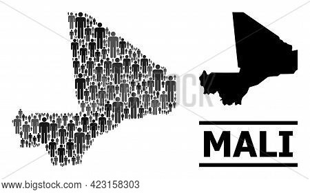 Map Of Mali For Demographics Projects. Vector Demographics Mosaic. Mosaic Map Of Mali Done Of Guy El