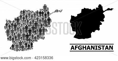 Map Of Afghanistan For National Purposes. Vector Population Mosaic. Pattern Map Of Afghanistan Desig