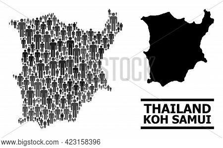 Map Of Koh Samui For Demographics Agitprop. Vector Demographics Abstraction. Abstraction Map Of Koh
