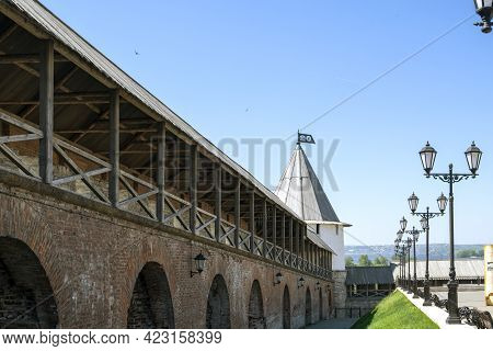 Kazan, Russia - May 19, 2021. A Perspective Fragment Of The Fortress Defensive Wall Of The Ancient K