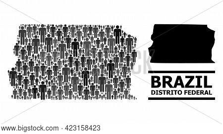 Map Of Brazil - Distrito Federal For Demographics Proclamations. Vector Demographics Mosaic. Composi