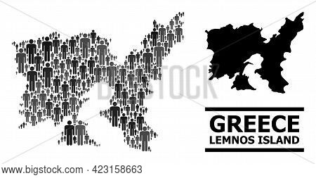 Map Of Lemnos Island For Demographics Proclamations. Vector Demographics Collage. Composition Map Of