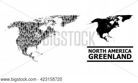 Map Of North America And Greenland For Demographics Promotion. Vector Demographics Mosaic. Pattern M