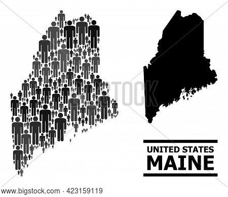 Map Of Maine State For Demographics Posters. Vector Demographics Abstraction. Abstraction Map Of Mai