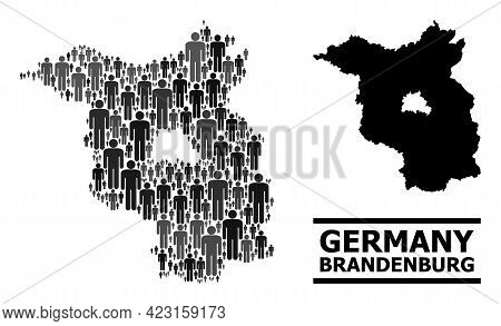 Map Of Brandenburg State For Demographics Doctrines. Vector Demographics Collage. Abstraction Map Of