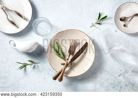 Modern Tableware, Overhead Flat Lay Shot With Olive Branches. Mediterranean Cuisine Restaurant Conce
