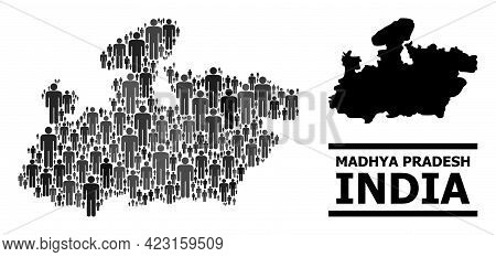 Map Of Madhya Pradesh State For Political Projects. Vector Nation Mosaic. Mosaic Map Of Madhya Prade