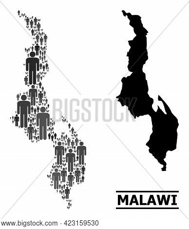 Map Of Malawi For Political Projects. Vector Demographics Collage. Concept Map Of Malawi Done Of Guy