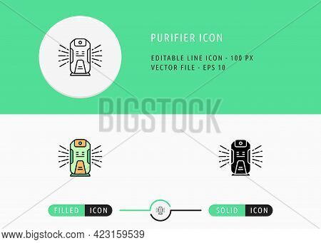 Purifier Icons Set Editable Stroke Vector Illustration. Clean Air System Symbol. Icon Line Style On