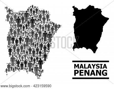 Map Of Penang Island For Demographics Propaganda. Vector Demographics Abstraction. Abstraction Map O