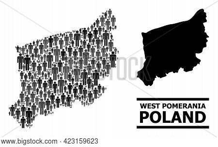 Map Of West Pomerania Province For Politics Agitation. Vector Nation Mosaic. Concept Map Of West Pom
