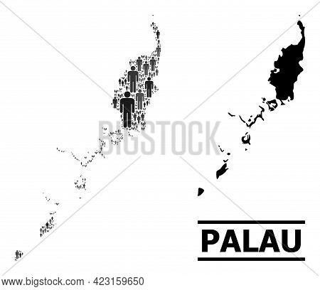 Map Of Palau Islands For Politics Promotion. Vector Population Collage. Mosaic Map Of Palau Islands