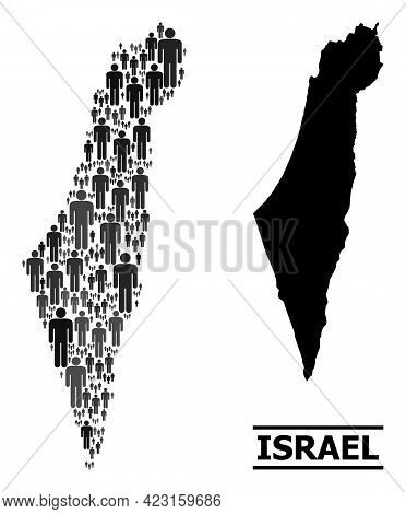 Map Of Israel For Demographics Doctrines. Vector Demographics Abstraction. Composition Map Of Israel
