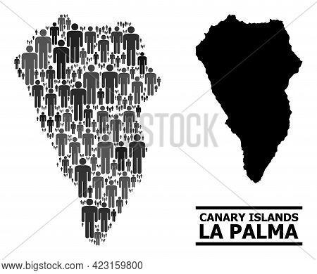 Map Of La Palma Island For Political Purposes. Vector Population Mosaic. Abstraction Map Of La Palma