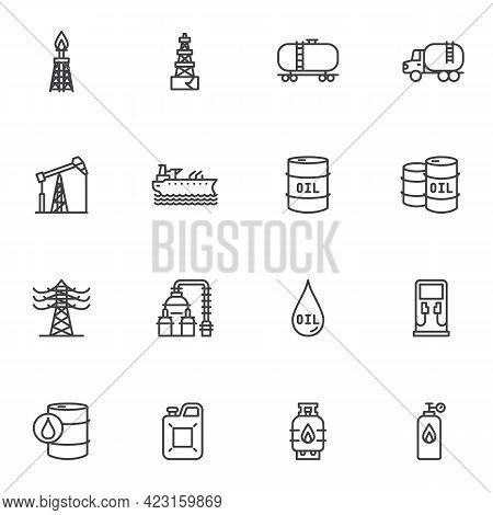 Oil Industry Line Icons Set, Fuel Industry Outline Vector Symbol Collection, Linear Style Pictogram