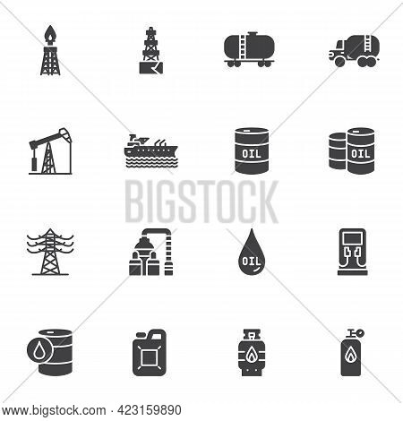 Oil Industry Vector Icons Set, Modern Solid Symbol Collection, Fuel Industry Filled Style Pictogram